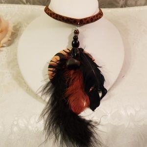 Black/brown bohemian feathers choker/necklace